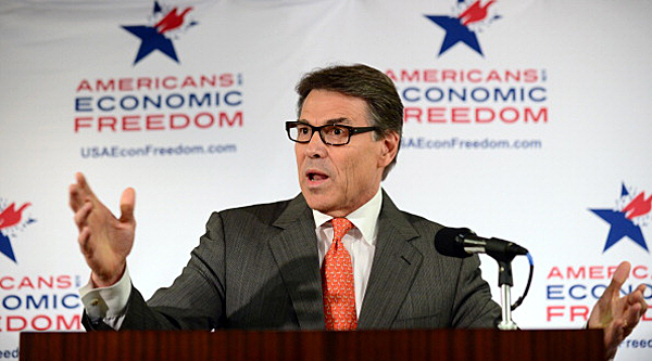 Texas Governor Rick Perry gestures while responding to questions press conference on the sidelines of the Republican Party's State Party Convention in Anaheim, California, on October 4, 2013. More than 1,000 party activists and leaders are expected to attend the three-day convention.  AFP PHOTO/Frederic J. BROWN        (Photo credit should read FREDERIC J. BROWN/AFP/Getty Images)