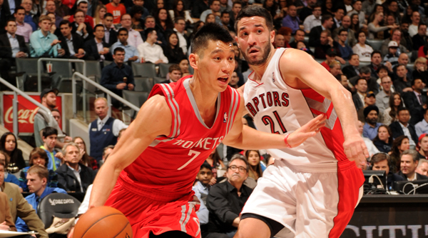 TORONTO, CANADA - April 2: Jeremy Lin #7 of the Houston Rockets drives against the Toronto Raptors on April 2, 2014 at the Air Canada Centre in Toronto, Ontario, Canada.  NOTE TO USER: User expressly acknowledges and agrees that, by downloading and or using this Photograph, user is consenting to the terms and conditions of the Getty Images License Agreement.  Mandatory Copyright Notice: Copyright 2014 NBAE (Photo by Ron Turenne/NBAE via Getty Images)