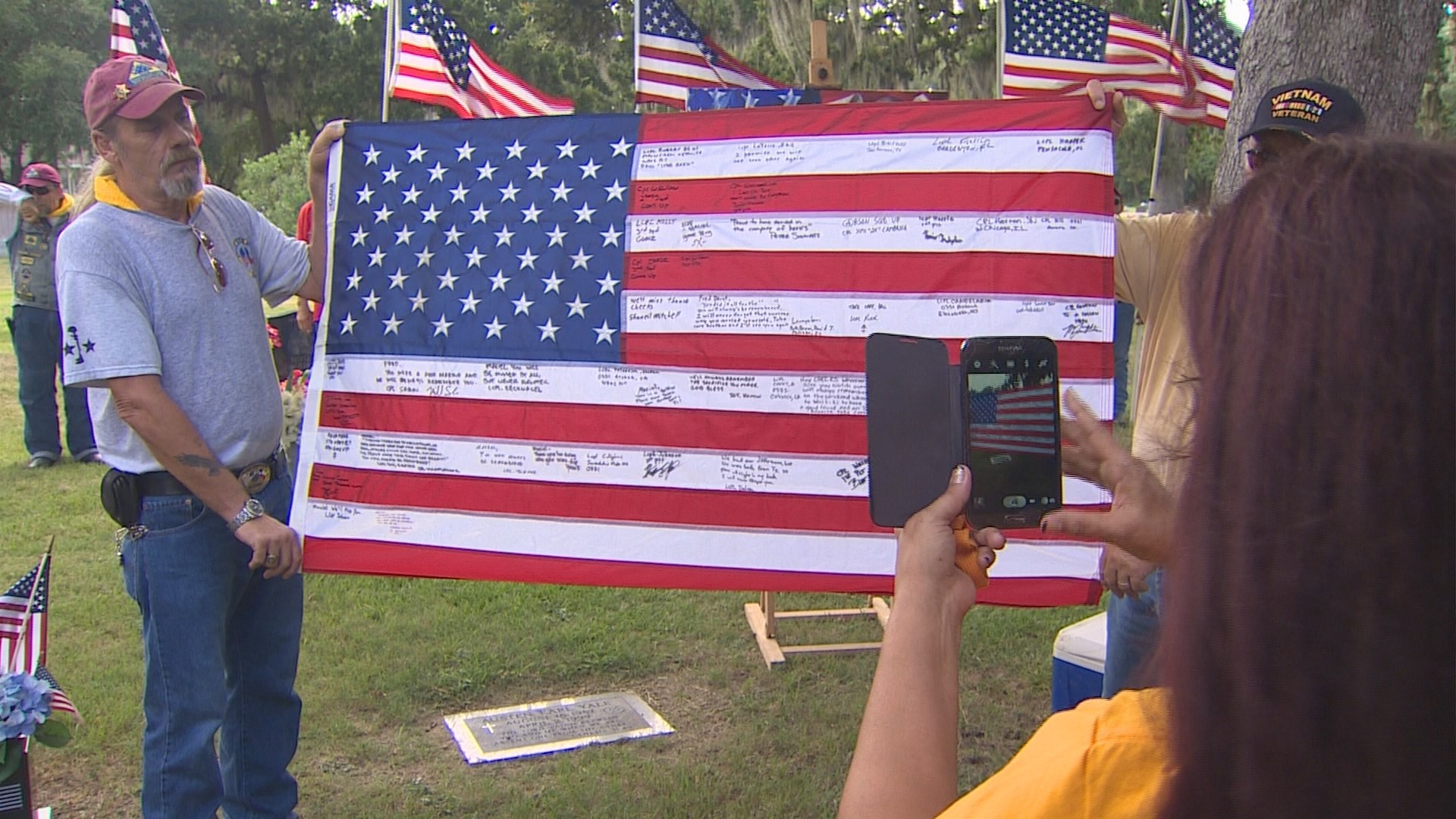 Tribute flag presented to Marine's mother after being lost for 9 years