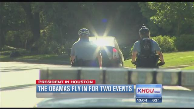 President Obama, Michelle Obama receive warm welcome in Houston