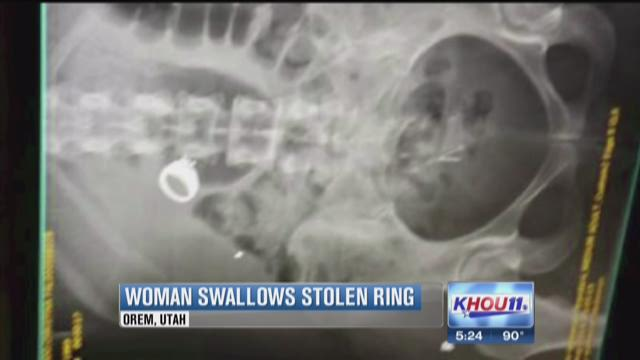 A woman in Utah swallowed diamond ring and is charged with theft