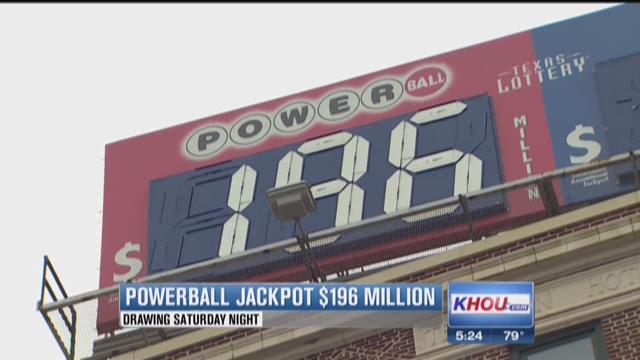 Powerball at $196 million, drawing Saturday
