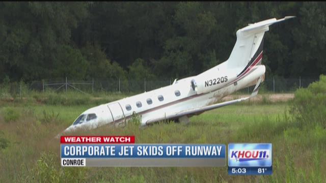 Corporate jet skids off runway