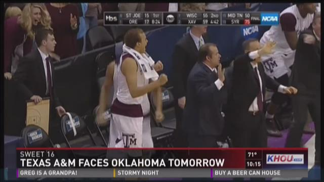 Texas A&M faces Oklahoma in Sweet 16 Thursday