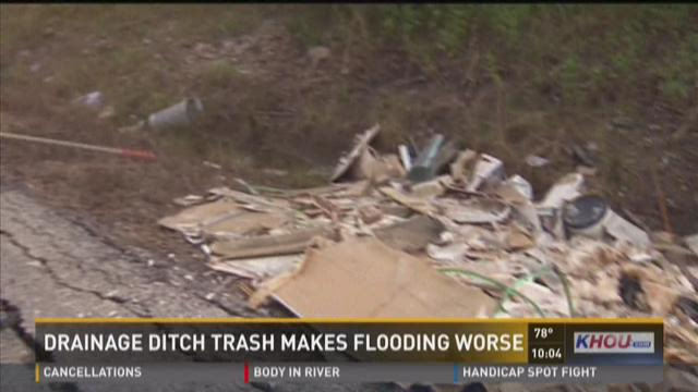 Drainage ditch trash makes flooding worse