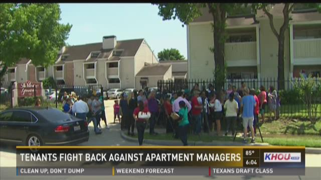 Tenants protest against landlords after flooding