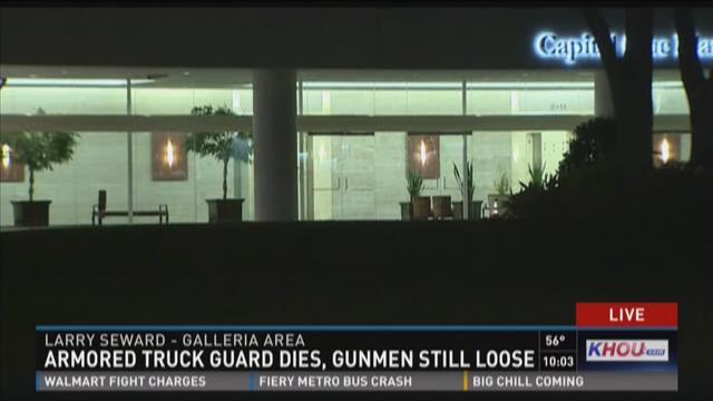 Armored truck guard dies, gunmen still loose