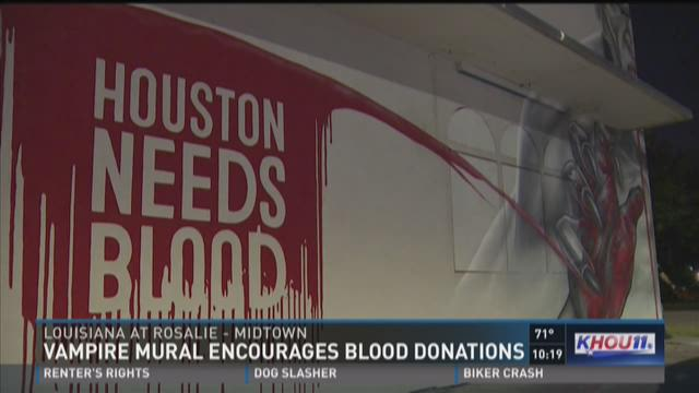 Vampire mural encourages blood donations for Blood in blood out mural