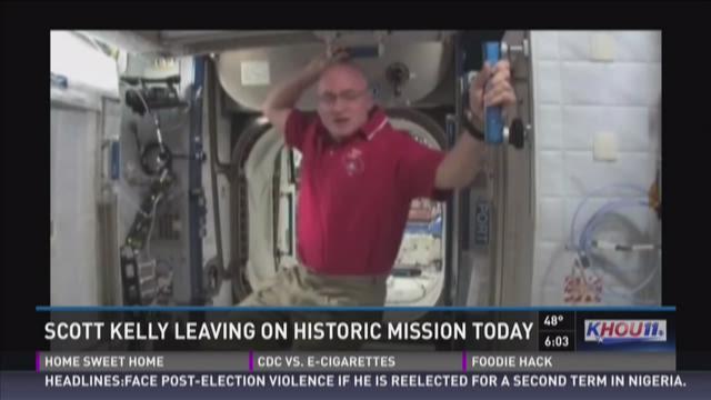NASA Astronaut Scott Kelly is seen inside a Soyuz simulator