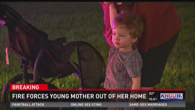 Fire forces young mother out of her home
