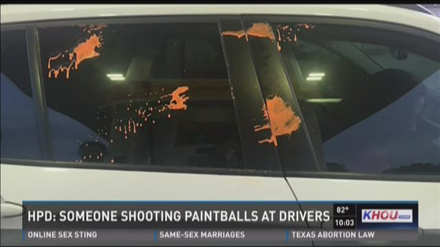 Vehicle hit by paintballs while on the Southwest Freeway
