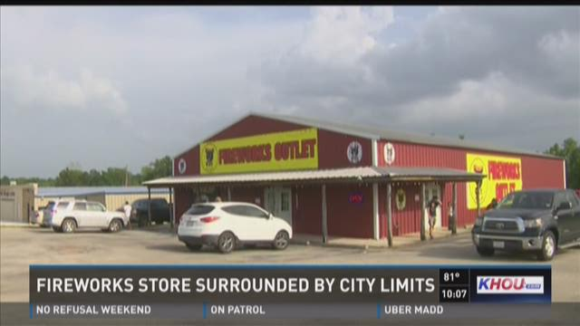 Fireworks store surrounded by city limits
