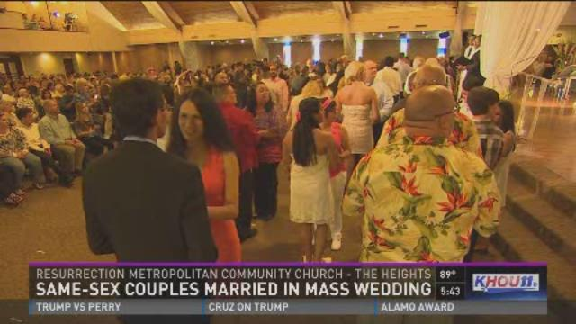 Same-sex couples married in mass wedding