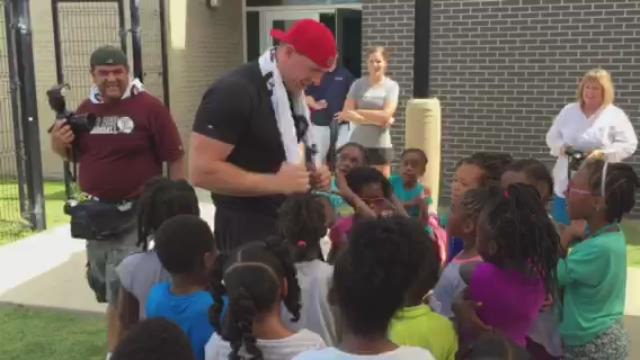 "Children at YMCA event teach J.J. Watt the ""Nae Nae"""
