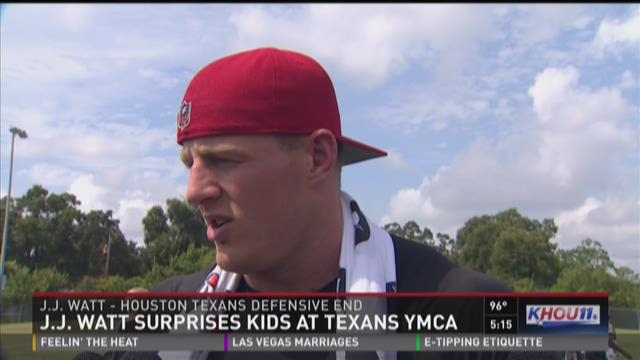 J.J. Watt gives advice to kids at YMCA