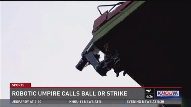 Robotic umpire calls ball or strike