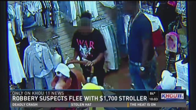 Caught on camera: Robbery suspects flee with $1,700 stroller