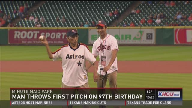 Man throws first pitch on 97th birthday