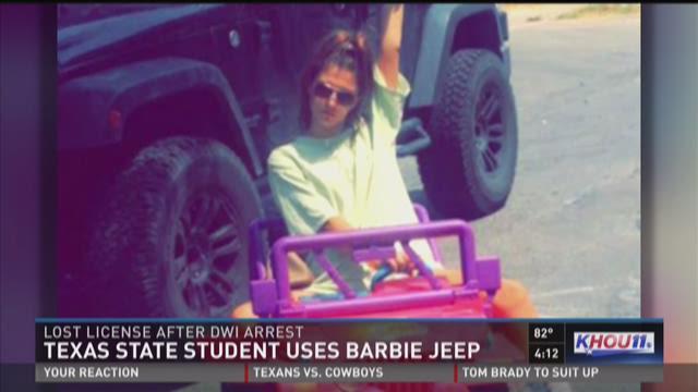 Texas State studyn drives Barbie Jeep