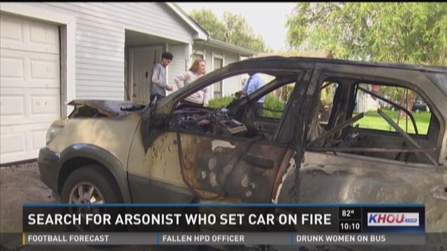 Search for arsonist who set car on fire