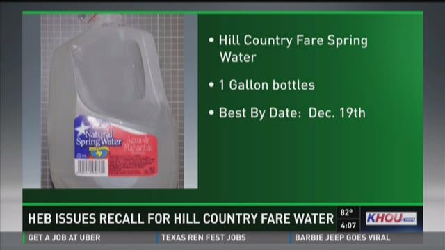 HEB issues recall for Hill Country Fare Spring Water