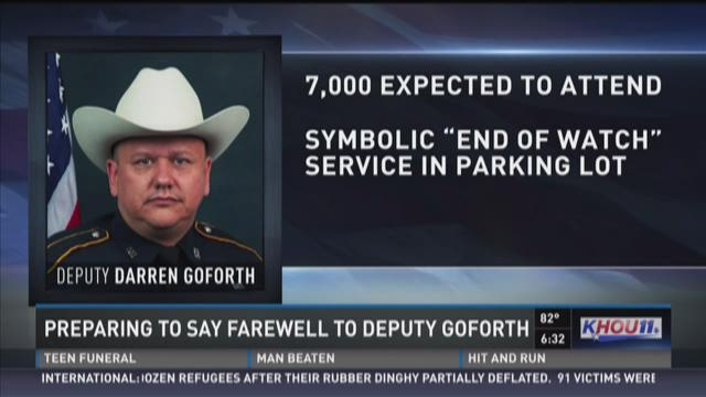 Supports gathering for Goforth's funeral service