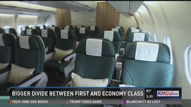 Divide increases between first class and economy class on flights