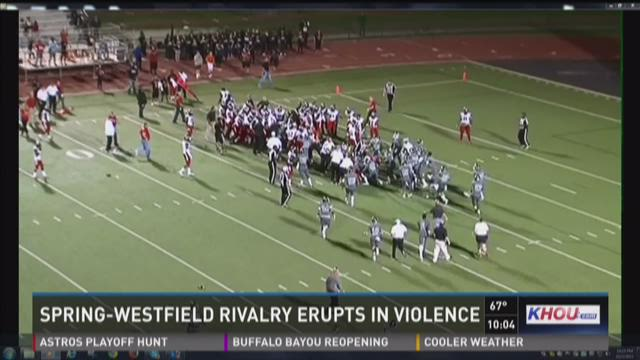 Bench-clearing brawl disrupts high school football game in Spring