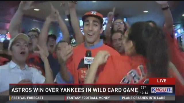 Fans celebrate Astros' wild-card win at local watch party