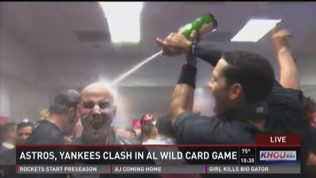 Astros celebrate in locker room after wild-card victory over Yankees