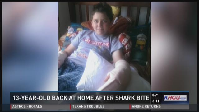 13-year-old bitten by shark returns home to recover