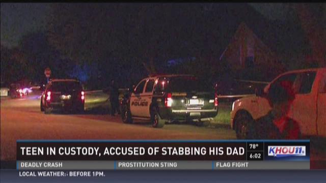 Teen in custody, accused of stabbing father