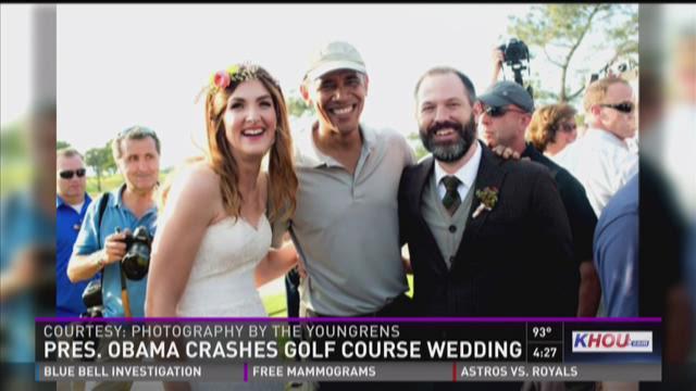 President Obama crashes golf course wedding