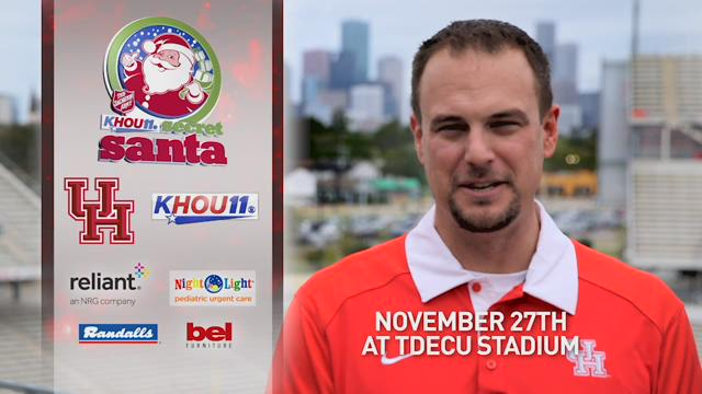 KHOU 11 and the University of Houston are teaming up to collect toys for the Salvation Army at UH's regular season finale game vs. Navy on Nov. 27.