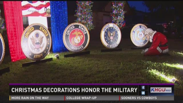 Christmas decorations honor the military