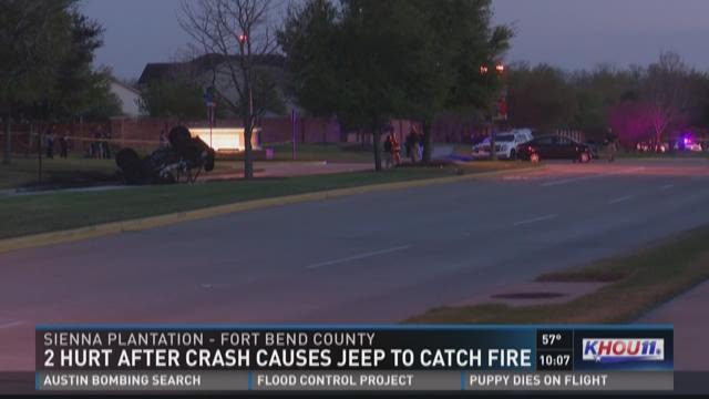 Two injured in fiery crash in Sienna Plantation | khou.com