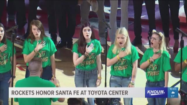 48d65dd46d6e Rockets honor Santa Fe High School during Game 5   12newsnow.com