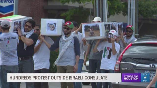 Hundreds protest outside Israeli consulate
