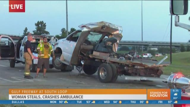 I-45 Gulf Freeway reopened after ambulance stolen, wrecked